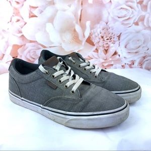 Vans ortholite gray shoes brown leather trim 7.5